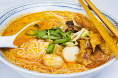 Currylaksa med grönsaken Royaltyfri Fotografi