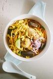 Currynudelsuppe Lizenzfreies Stockfoto