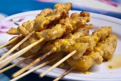 Currypork Satay Arkivbild