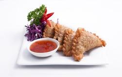Currypuff, thailändsk entree, aptitretare royaltyfria foton