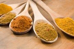 Currypulver auf hölzernen Löffeln Stockfoto