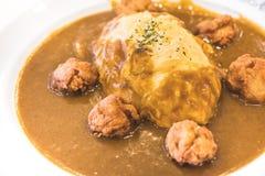 Curryreis mit dem Ei stark Lizenzfreie Stockfotografie