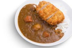 Curryrice med stekt pork Japanska ris för matTonkatsu curry borste isolerad tandwhite Arkivbilder