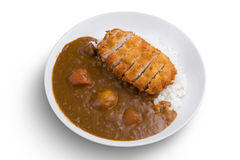 Curryrice med stekt pork Japanska ris för matTonkatsu curry borste isolerad tandwhite Royaltyfri Bild