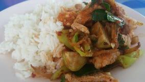 Curryschweinefleisch auf Reis Stockfoto