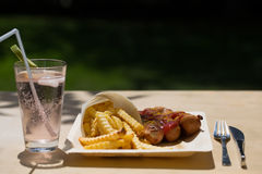 Currywurst και pommes στα ανακυκλώσιμα πιάτα Στοκ εικόνες με δικαίωμα ελεύθερης χρήσης