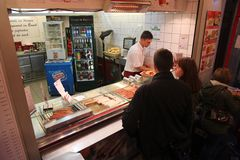 Currywurst bar in Berlin Stock Photos