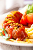 Currywurst with french fries Royalty Free Stock Photography