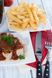 Currywurst with French Fries Royalty Free Stock Image
