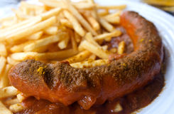 Currywurst and Fries royalty free stock image