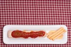 Currywurst met tekstruimte Stock Afbeelding