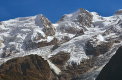 The Cursed Mountain. Mont Maudit, or the cursed mountain, where many climbers have met their deaths on the Mont Blanc in France Royalty Free Stock Images