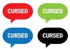 CURSED text, on rectangle speech bubble sign. Stock Photos