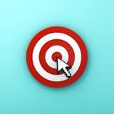 Curseur de flèche cliquant sur au centre du panneau ou de la cible de dard rouge Photographie stock
