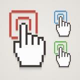 Curseur de main de pixel avec le contact Image libre de droits