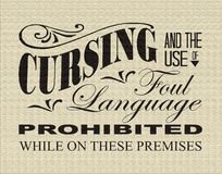 Cursing Prohibited Vintage Sign Stock Photography