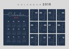 Cursive design calendar 2019 mockup vector illustration