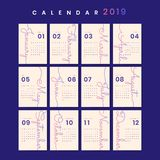 Cursive design calendar mockup royalty free illustration