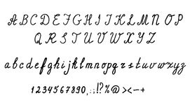 Cursive English alphabet letters, numbers and symbols. Hand drawn set. Stock Images