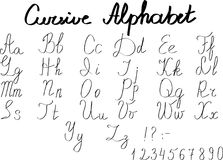 Cursive English alphabet letters and numbers in vector Royalty Free Stock Photography