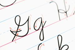 Cursive handwriting. Close up of cursive handwriting practice page stock image