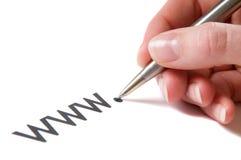 Cursivo de WWW Imagen de archivo libre de regalías