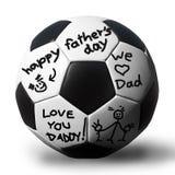 Cursivo en un soccerball para su padre