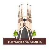 Curso à Espanha Sagrada Familia Ilustração lisa do vetor ilustração stock