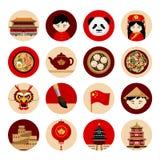 Curso à porcelana Coleção dos ícones com símbolos culturais ilustração stock
