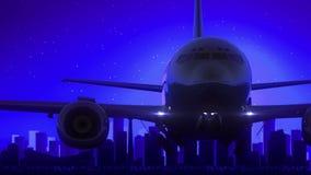 Curso azul da skyline da noite da lua de Calgary Alberta Canada Airplane Take Off ilustração royalty free