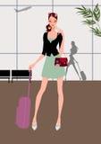 Curso bonito da rapariga (mulher) com bagagem Fotos de Stock Royalty Free