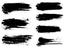 Curso criativo feito à mão da escova da pintura preta do vetor Fotos de Stock Royalty Free