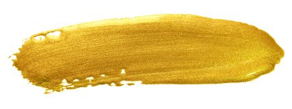 Curso da escova de pintura da cor do ouro Mancha dourada acrílica da mancha no fundo branco Dor molhada textured de brilho do our foto de stock royalty free
