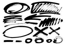 Curso da escova do Grunge Vetor A escova diferente do grunge afaga elementos de cor pretos jogo Fotografia de Stock Royalty Free