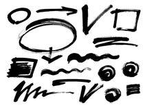 Curso da escova do Grunge Vetor A escova diferente do grunge afaga elementos de cor pretos jogo Imagens de Stock Royalty Free
