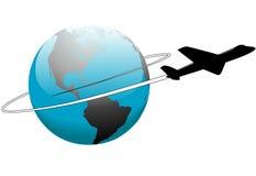 Curso da linha aérea em torno do avião da terra do mundo ilustração stock