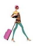 Curso da mulher nova com bagagem ou bagagem Imagens de Stock