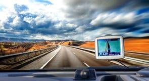Curso de carro e procura do conceito da rota Fotos de Stock