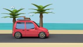 Curso de carro vermelho no mar do céu azul da praia da estrada com estilo 3d dos desenhos animados das árvores da coco-palma para ilustração do vetor