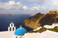 Curso de Grécia da paisagem da ilha de Santorini Imagem de Stock Royalty Free