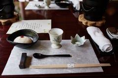 Curso de Kaiseki del queso de soja en Kyoto, Japón imagen de archivo