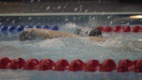 Curso de rastejamento de flutuação do nadador profissional fêmea na piscina da água vídeos de arquivo