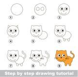 Curso de tiragem Como tirar um gatinho pequeno ilustração stock