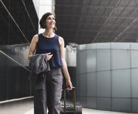 Curso de Traveler Journey Business da mulher de negócios imagens de stock