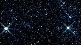 Curso dentro de um campo de estrelas de incandescência e de cintilação filme