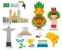 Curso do ícone liso de Brasil e conceito ajustados do turismo ilustração do vetor
