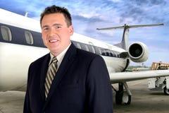 Curso do avião - homem de negócios Imagem de Stock