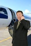 Curso do avião - homem de negócios Fotos de Stock Royalty Free