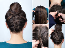 Curso do bolo da trança do penteado foto de stock