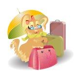 Curso do cão com desenhos animados das malas de viagem Imagem de Stock